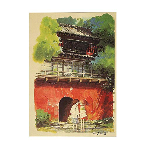Haushele OFD Anime Spirited Away Classic Cartoon Movie Poster Dekorative Malerei Bar Schlafzimmer Home Party Thema Dekoration Poster(H02)