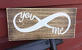 JeanLowell Rustic Wood Sign Plaque Home Decor You and Me Infinity Welcome Farmhouse Home Decor Couple Love