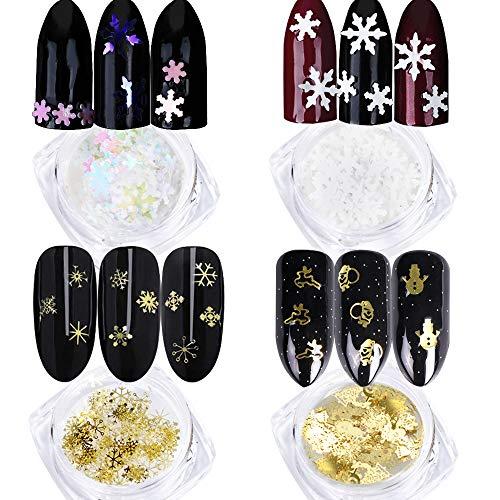 VINFUTUR 4 Box Weihnachten Nagel Pailletten Schneeflocken 3D Metall Nail Art Pailletten Glitter Nageldeko DIY Nagelkunst Zubehör