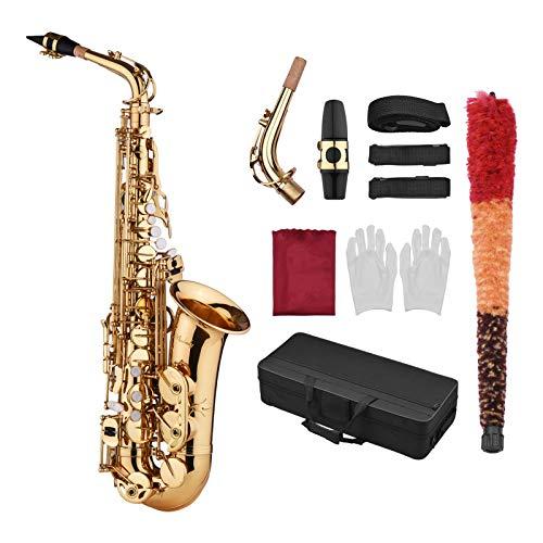ammoon Saxophone Sax Eb Be Alto E Flat Brass Carved Pattern Set
