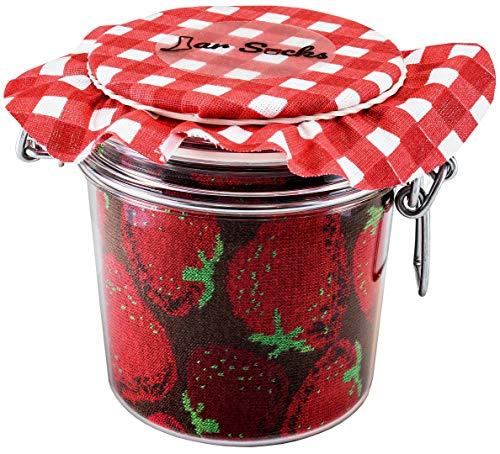 Rainbow Socks - Damen Herren - Erdbeeren und Blaubeeren Socken im Glas - Geschenk Idee - 2 Paar - Größen 36-40