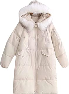Macondoo Women Puffer Zipper Quilted Thick Jacket Hoodie Outwear Down Coat