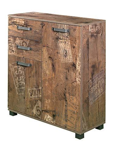 Milan Kommode mit zwei gedämpften Türen, Melaminharzbeschichtete Spanplatte/Metall/Holz, Panama Eiche, 32 x 80.6 x 94.8 cm