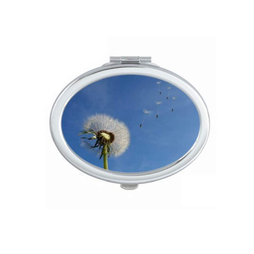 outlet Blue Sky Beautiful Max 79% OFF White Dandelion Portable Hand Fold Mirror Mak