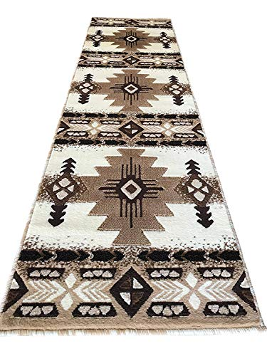 Southwest Native American Runner Area Rug Indian Ivory Concord Design C318 (2 Feet X 7 Feet )