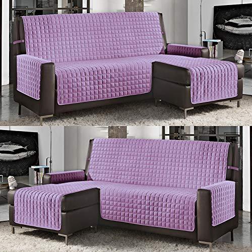 Banzaii Funda de Sofá Cubre Chaise Longue Acolchada Lisa 3 Plazas (240 cm) con Chaise Longue Izquierda/Derecha Lila