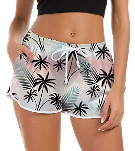 Fanient Damen Badehose Schwimmhose Hawaiian Strandhose Workout Laufen Athletic Lounge Hose Wassersport Boardshorts Schnell Trocknendes Sommer Shorts Schwimmshorts XS