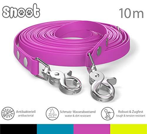 SNOOT Schleppleine 10m - Pink - zugfeste, schmutz- und Wasserabweisende Hundeleine mit Zwei Karabiner und D-Ring