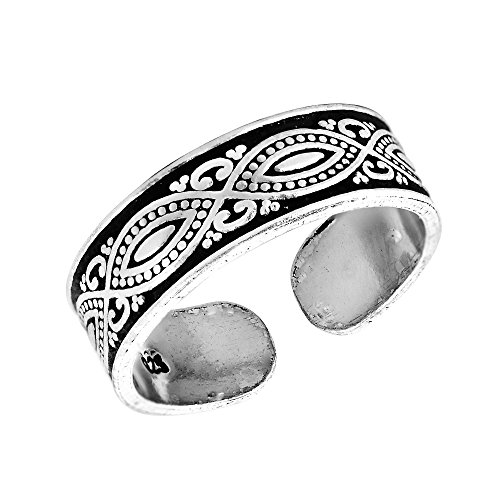 Decorative Balinese Marquise Design .925 Sterling Silver Toe Ring or Pinky Ring