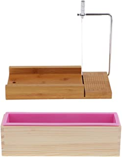 F Fityle Wooden Soap/Candle/loaf Set, 1Pcs Pink Rectangle Silicone Mold (900ml) with Wood Box + 1Pcs Soap Cutter with Wire Slicer