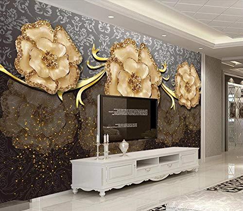 Fototapete 3D Effekt Jade Schnitzt Goldene Schöne Schmuckblume Moderne Wandtapete Wohnzimmer Dekoration Tapete