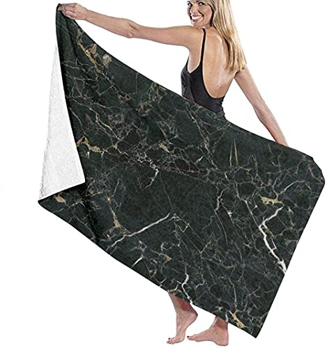 Telo Mare Grande 130 ×80cm, Marmo Nero,Asciugamano da Spiaggia in Microfibra Asciugatura Rapida,Ultra Morbido,Uomo,Donna,Bambina