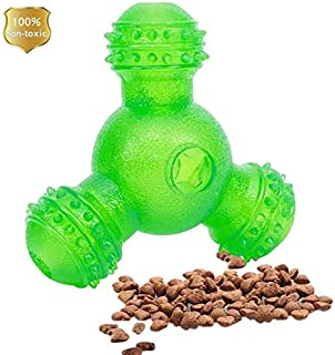 MACOODEE Interactive Dog Treat Ball Toys, IQ Treat Dog Chew Toys 3 Holes Food Dispensing Puzzle Toys Natural Rubber Bite Resistant Pets Toys for Small and Medium Dogs