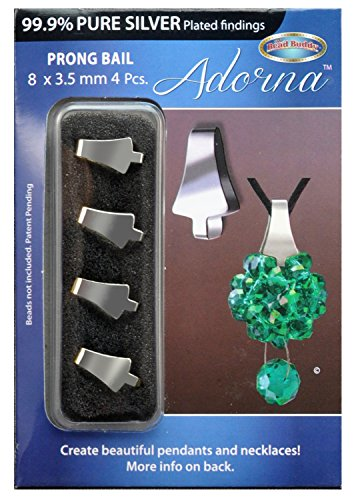 Bead Buddy Adorna Pure Silver Plated Prong Bail-Jewelry Prong Bail for Necklaces and Pendants-Necklace Parts