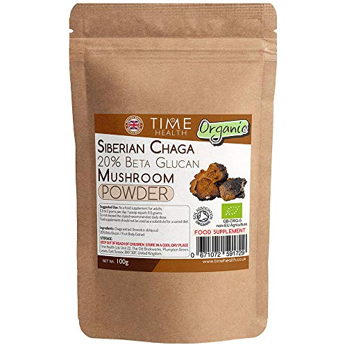 Siberian Chaga (Inonotus obliquus) Organic 20% Beta Glucan Mushroom Extract - Zero Additives… (100 g pro Beutel)