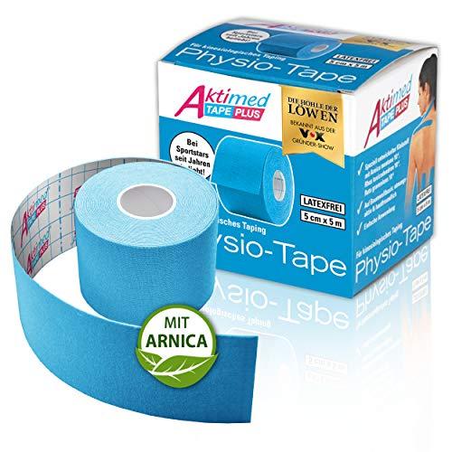 """AKTIMED Tape PLUS Kinesiologie Tape – Sporttape mit pflanzlichem Extrakt Arnica D6* – patentiertes Physiotape Dermatest """"sehr gut"""" – Kinesiologie Tapes elastisch & wasserfest (hellblau)"""