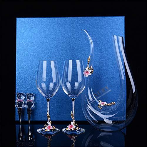 Decantador Set El esmalte del vidrio de vino Vino retro doble partido...