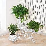 LSNLNN Soporte de la planta, en forma de escalera simple retro europeo de hierro forjado Flower Stand Multi-capa de la pared pequeños adornos en maceta en maceta en rack rack,Blanco