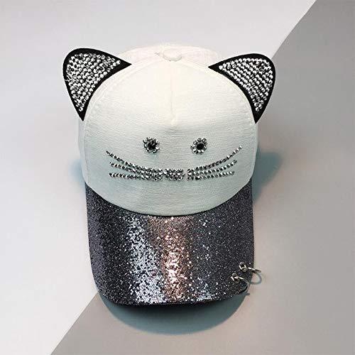 kyprx Skullies für Herren & amp; Beanies Günstige Herren Cute Cat Ohr Pailletten Ring Baseball Caps Frauen