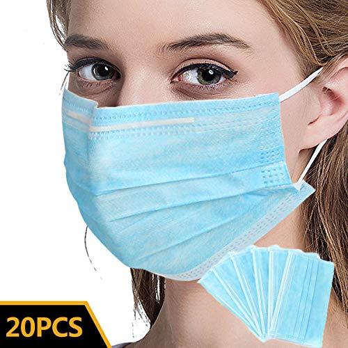 Medizinische Einwegmasken 3 Lagig/Atemschutzmaske/Mundmaske/Mundschutz/Medizinische Gesichtsmaske/Atemschutz/Hygienemaske/Mundschutzmaske/Hypoallergene Maske (20 Pcs, Blau)