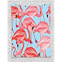 daawqee Flamingo Tropical Birds Pattern with Flamingos Colorful Exotic Animal Nature Artwork Bedroom Living Room Dorm Wall Hanging Tapestry Coral Salmon Pink Blue Unique Home Decor