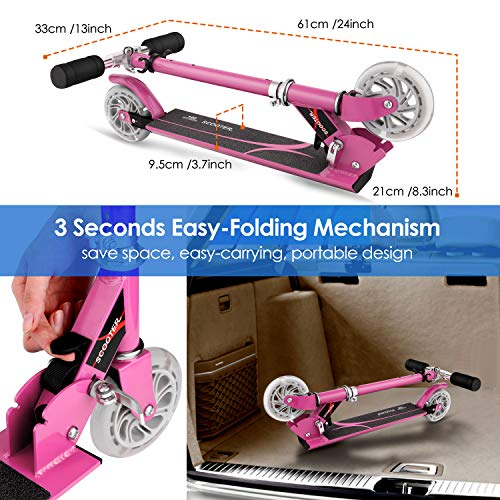 OUTCAMER-Scooter-Boys-Girls-2-Wheels-Kids-Scooter-Toddler-Scooter-with-Adjustable-Height-Kick-Scooter-Colorful-LED-Lighting-Wheels-Aged-3