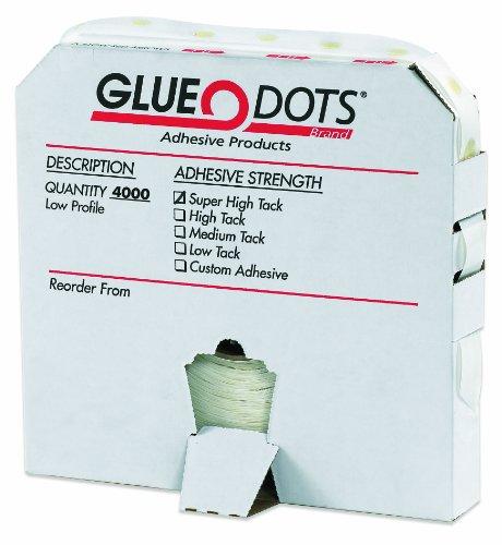 Glue Dots Low Profile Super High Tack Glue Dot, 1/4' Diameter x 1/64' Thick, Case of 4000 (GD112)