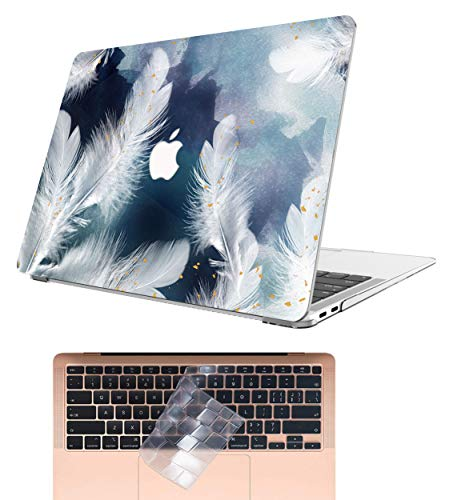 AOGGY MacBook Air 13 Inch Case 2021 2020 2019 2018 Release A2337 M1/A2179/A1932,Plastic Hard Shell With TPU Keyboard Cover for MacBook Air 13 Inch With Retina and Touch ID - Feather