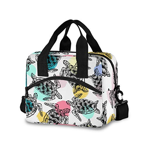 Colorful Sea Turtles Lunch Bag for Women Men Insulated Lunch Box Tote Bag with Detachable Shoulder Strap & Carry Handle,Reusable Cooler Bag for Work School Picnic