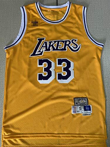 Jersey Men's, NBA Los Angeles Lakers # 33 Kareem Abdul-Jabbar, Uniformes De Baloncesto Camisetas De Deporte Sin Mangas Clásicas Y Camisetas Cómodas,Amarillo,S(165~170CM)