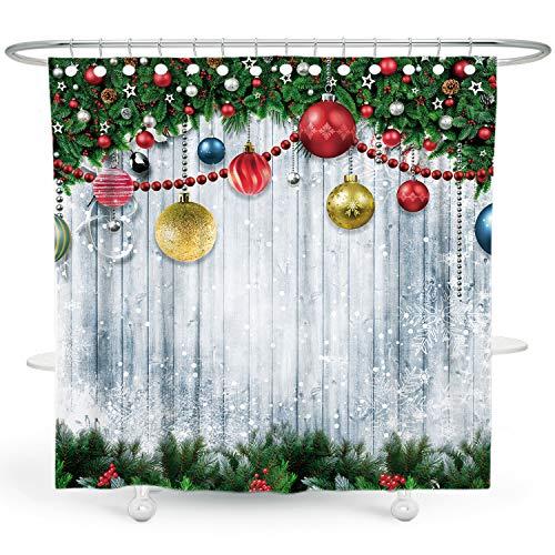 DESIHOM E Weihnachten Duschvorhang Schneeflocke Duschvorhang Urlaub Duschvorhang für Badezimmer Weihnachtsbaum Duschvorhang Winter Duschvorhang Holz Polyester Wasserdicht Duschvorhang 183 x 183 cm