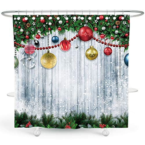 DESIHOM Christmas Shower Curtain Snowflake Shower Curtain Holiday Shower Curtains for Bathroom Christmas Tree Shower Curtain Winter Shower Curtain Wood Polyester Waterproof Shower Curtain 72x72 Inch