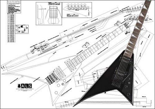 Plan de un Jackson Randy Rhoads guitarra eléctrica–escala completa impresión