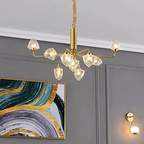 Baibao Spotlight - Farol de pared de cobre para habitación de restaurante o Living Room con lámpara de cristal de 9 bombillas Nordic