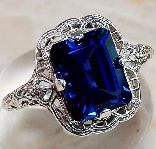 Yuren Elegant Huge Natural 3.5Ct Tanzanite 925 Silver Sapphire Ring Women Wedding Engagement Size 6-10 (US Code 10)