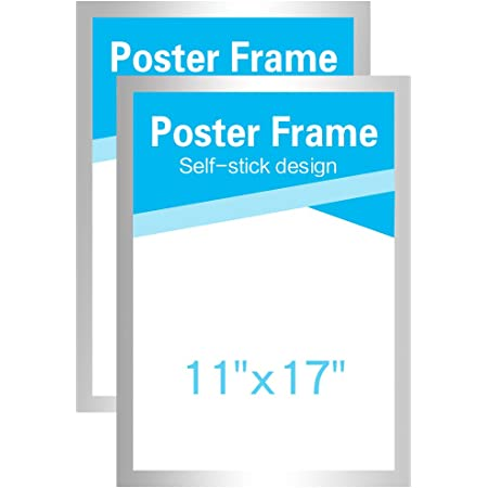 MFoffice 11x17 Frame for Display AD,Sign,Poster,Picture,Made of Durable PVC Plastic and Strong Magnetic,Double Sided and Self Adhesive,Silver,Pack of 2