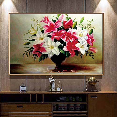 jijimidianzi GFJJTRB,Pintura de la Lona de la decoración de la Pared Pintura sin Marco del Arte de la decoración de la Pared del hogar Minimalista Abstracto del Lirio fresco-40x60cm