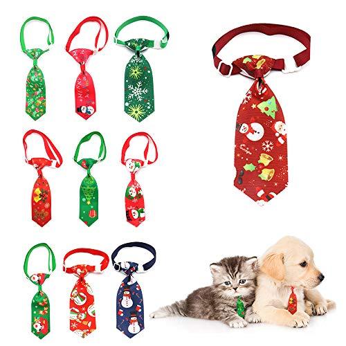 10 unidades por paquete de corbatas de Navidad para perro, muñeco de nieve ajustable para Navidad, festival, perro, gato, decoración de Navidad, accesorios de aseo de perro