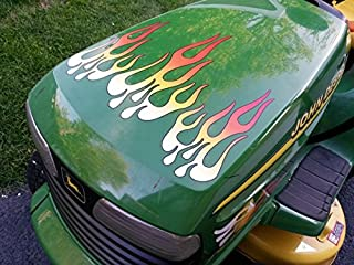 Flame Decals - White Hot Fire - for riding lawn mower tractor - 5pc. set