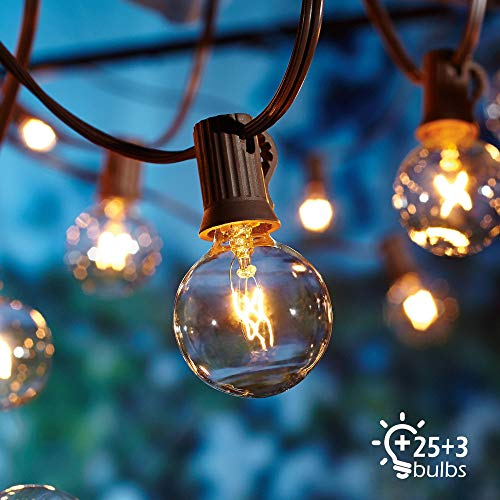 Outdoor Garden String Lights,29ft G40 Garden Patio Outside String Lights,Waterproof Indoor/Outdoor String Lights,Great Garden Terrace Patio Outside Xmas Lights (25 Bulbs,3 Replacement Bulbs) Not LED