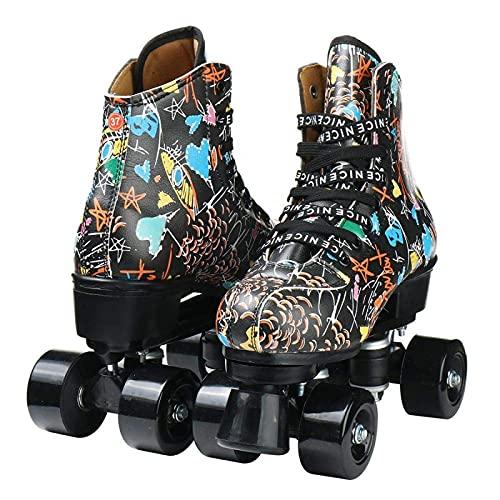 litulituhallo Womens Graffiti Roller Skates with Shiny Four Wheel Classic High Top Adustable Pu Leather Black Black Flash Wheel Size 55