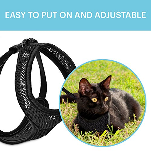 HOUNDNINE Escape Proof Dog Cat Harness - Perfect for Safe Cat Walks and Dog Walks - Large Black Holster Style Adjustable to Cat or Dogs Body - Made of Soft Comfortable Mesh Material