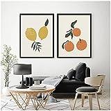 Cuadros Decoracion Pasillo Salon 60x80cm x2 Piezas SIN MarcoFruta Naranja Cartel limón Arte Cocina Cuadros de Paredlienzos Decorativos Salon Modernos