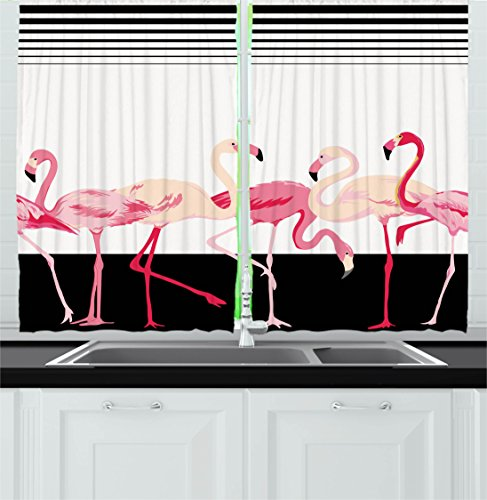 """Ambesonne Retro Kitchen Curtains, Pink Flamingo Birds on Background with Stripes Love Romance Shabby Form Graphic, Window Drapes 2 Panel Set for Kitchen Cafe Decor, 55"""" X 39"""", Black"""