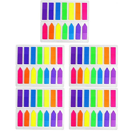 HEHALI 10 Sets Neon Page Marker Colored Index Tabs Flags Fluorescent Sticky Note for Marking for Page Marker 1400 Pieces