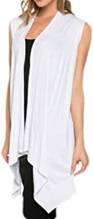 Womens Solid Color Asymmetric Hem Sleeveless Draped Open Front Cardigan Vest