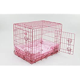 Easipet 30″ Pink Cage with Pink Fleece Dog Bed