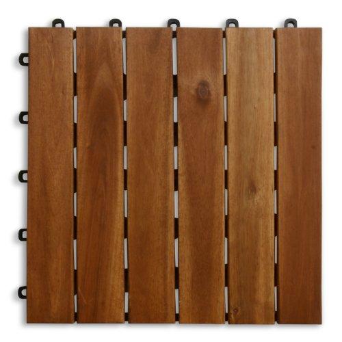 casa pura® Terrassenfliesen Set Arden | Holz, Akazien | 99 Stück - 9m²
