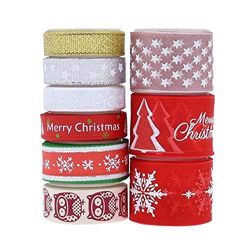 Nv Wang Weihnachtsband,Geschenkband 9 Stil 18 Yards Bunt Geschenkband mit Weihnachts-Motiv für Weihnachten Hochzeit Verzieren DIY Handwerk 1 cm 1.5 cm 2.5 cm in der Breite