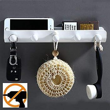 Kelelife Auto Adhesive Patere Porte Manteau Avec Etagere Et 5 Crochets Sans Forage Blanc Pour Salle De Bain Wc Amazon Fr Bricolage